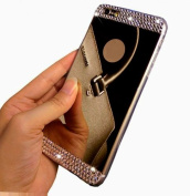 iPhone 6 Case,Inspirationc® Beauty Luxury Diamond Hybrid Glitter Bling Soft Shiny Sparkling with Glass Mirror Back Plate Cover Case for Apple iPhone 6 (12cm )--Black