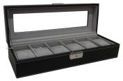 Sodynee® Watch Box Large 6 Mens Black Pu Leather Display Glass Top Jewellery Case Organiser