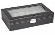 Sodynee WBPU12-03 Watch Dislpay Box Organiser, Pu Leather with Glass Top, Large, Black