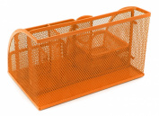 EasyPAG Mesh Desktop Organiser 6 Compartment Office Desk Organisers Supply Caddy with Drawer , Orange