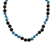 ZLYC Women Handmade Two Tone Geometric Coral and Lava Stone Bead Strand Necklace