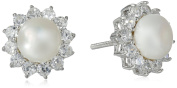 "Hallmark Jewellery ""Bridal"" Sterling Silver Cubic Zirconia and Pearl Starburst Stud Earrings"