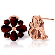 14k Rose Gold Garnet French Clip Flower Earrings