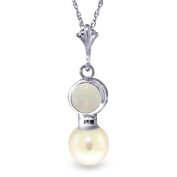14k White Gold Necklace with Opal and Freshwater-cultured Pearl Pendant