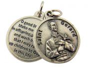 Oxidised Silver Catholic Patron Saint Gerard Medal with Prayer Back, 1.9cm
