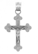 Solid 10k White Gold Budded Cross Charm Crucifix Pendant