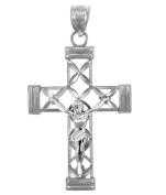 10k White Gold Avant-Garde Cross Open Design Crucifix Pendant
