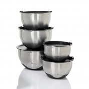Simply Ming 10-Piece Stainless Steel Mixing Bowl Prep and Storage Set - Black