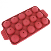 Freshware CB-121RD 15-Cavity Silicone Mould for Cake Pop, Hard Candy, Lollipop and Party Cupcake with 24-count Paper Sticks, Recipe Included