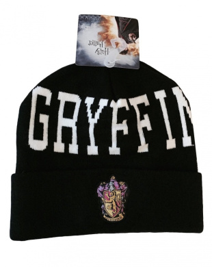 Harry Potter Gryffindor Crest and Text Logo Black Cuff Knit Beanie Costume Hat
