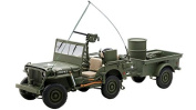 Jeep Willys Army Green with Trailer and Accessories 1/18 by Autoart 74016