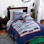 LeLv Cars Boys Quilt Bedding,twin Size Kids Summer Bedspreads,100% Cotton Mattress