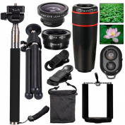 AFAITH 10-in-1 Camera Lens Kit 8x Telephoto Telescope Lens + Fish Eye Lens + Wide Angle + Macro Lens + Selfie Stick Monopod + Bluetooth Remote Control + Mini Tripod For iPhone 4S 5 5C 5S 6 6 Plus Samsung Galaxy S3 S4 S5 S6 Edge Note 2 3 4 HTC Nokia and ..