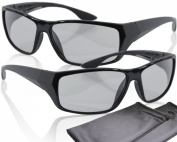 "2 Player split screen polarised gaming glasses - black - compatible with ""Dual Play"" by LG, ""Full Screen Gaming"" (passive version) by Philips and ""SimulView"" (passive version) by Sony- same technique, but no 3D glasses - with pouch and cleaning cloth"