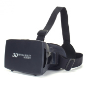 ENHANCE 3D VR Headset with Comfortable Nose-Padding & Adjustable Head Strap Support - Works With Virtual Reality Apps Google Cardboard , Titans of Space , War of Words VR , Rollercoaster VR & more!