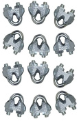 Lot of 12 High Quality 0.3cm Galvanised Wire Rope Clips / Cable Clamps