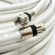 15m WHITE Perfect Vision Solid Copper UL CM CL2 rated for in wall installation 3ghz 75 Ohm Coaxial Rg6 Directv, Dish Network, Digital Cable Tv Video Cable with PPC Compression Rg6 Fittings