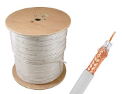 Sewell Direct SW-30378 RG59 Bulk Cable, CCS, White, 95% Braid, Dual Shielding, 300m Spool