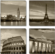 Pictures on canvas 6604 length 10cm x 30cm height 30cm cities Europe London Paris Rome Berlin ready to hang, brand original Visario !
