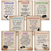 Literary Terms Mini Quote Poster Set featuring Alliteration, Foreshadowing, Irony, Metaphor, Onomatopoeia, Paradox, Personification and Symbolism. Educational Art Prints