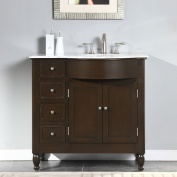 Silkroad Exclusive White Marble Top Right Sink Bathroom Vanity with Furniture Cabinet, 100cm