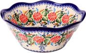 Polish Pottery Ceramika Boleslawiec 0424/280 Royal Blue Patterns with Red Rose Motif Bowl Viki 2, 6-1/2-Cup