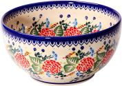 Polish Pottery Ceramika Boleslawiec 0410/280 Royal Blue Patterns with Red Rose Motif Bowl 19, 5-1/4-Cup