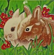 Continental Art Centre BD-2102 20cm by 20cm Two Rabbits Ceramic Art Tile
