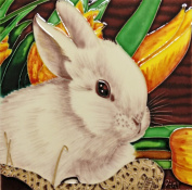 Continental Art Centre BD-2101 20cm by 20cm Rabbit with Yellow Lily Flower Ceramic Art Tile