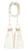 India House Chair Tie Tassels with 70cm Cord Milano, 11cm , Ivory Mix