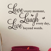 LOVE every moment. LAUGH every day. LIVE beyond words.English Alphabet Art Mural Home Decor Wall Stickers