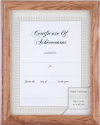 Gallery Solutions Natural Wide Stepped Wood Document Frame with Usable Certificate, 22cm by 28cm