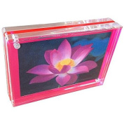 Acrylic TRIPLE MAGNET FRAME in NEON PINK by Canetti® - 4x6
