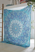 COR's Star Mandala Tapestry Indian Wall Hanging, Bedsheet, Coverlet Picnic Beach Sheet , Superior Quality Hippie Wall Tapestry or Bedspread in Organic Cotton Tree of Life 230cm x 220cm