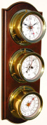 Trintec Euro Weather Station Brass Quartz Clock Thermometer Barometer Marine Nautical Dials on Cherry Stained Wood Plaque EWS-01