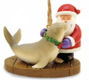 Santa with Holiday Harbour Seal Christmas Ornament