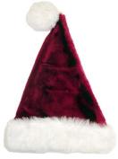 43cm Plush Burgundy & White Santa Hat With Pompom - Size Medium