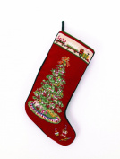 Christmas Tree with Toy Train Christmas Stocking, Wool Needlepoint, 28cm X 46cm