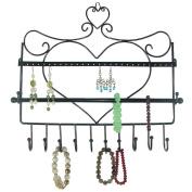 UZZO Wall Mount Jewellery Organiser Hanging Jewellery Holder, Jewellery Stand for Earrings / Necklaces / Brecelets (Heart shape