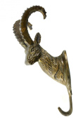 Mounted Ram Hook in Antique Brass Finish - 20cm Height