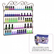 Dazone DIY Mounted 5 Shelf Nail Polish Wall Rack Organiser Holds 100 Bottles Nail Polish or Essential Oils