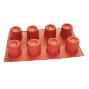 X-Haibei Silicone Mould Muffin Jelly Cake Baking Pan 8-cavity 5.1cm x 5.1cm Canneles Mould