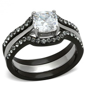 Wedding Ring Set Black Stainless Steel Cushion Shape Cubic Zirconia 1.8 Ct Women size 4.5 to 11 SPJ