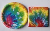 Birthday Party Supply Kit Bright Tie Dye Pattern - Napkins Plates