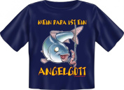 "My Dad is A Angelgott'(""Fishing God"")-Baby-Shirt - Blue - 80/86"