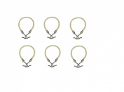 6 PCS Ponytail Hooks Holder Bungee Bands Hair Styling Black Brown Light Silver