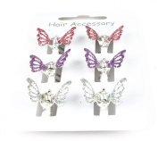 Mini Hair Grips Hair Clamps Claw Clamps Mini Clamps Mini Grips Many Choices Silver Purple And Pink Glitter Butterfly