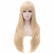 Pale Gold Blonde Side Swept Fringe Long Straight Resistant Women Full Wigs