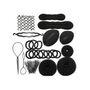 YINGMAN Amazing Value Hairdressers Salons Quality Hair Styling Set Kit In Black Colours With Donuts / Doughnuts, Buns Formers / Makers / Shapers, Twist Braids Clip, Volumes Base, Slides / Pins / Barrettes And Elastic Stretch Bands