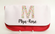 Red personalised flower pencil case